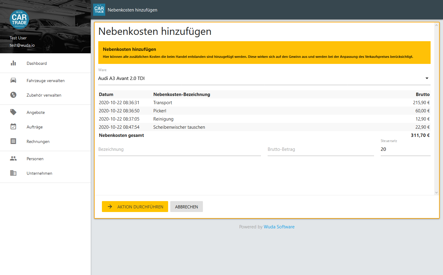 Screenshot von CarTrade Nebenkosten