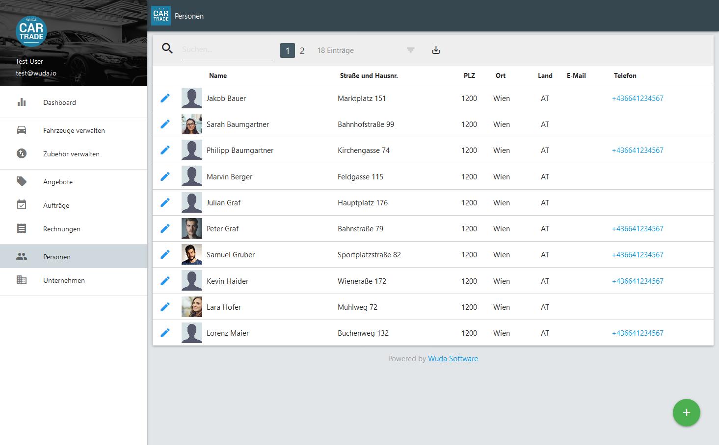 Screenshot vom CarTrade Dahboard